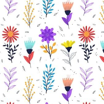 Padrão de flores prensadas desenhado à mão