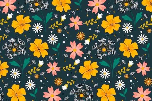 Padrão de flores prensadas planas orgânicas
