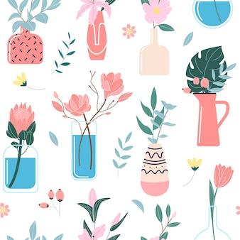 Padrão de flores silvestres e de jardim desabrochando em vasos e garrafas