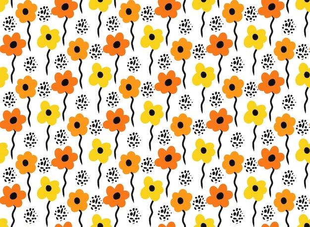 Padrão de flores simples. impressão de textura de repetição na moda, plano de fundo. ilustração vetorial.