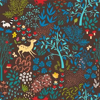 Padrão de floresta sem emenda. ilustração vetorial