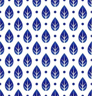 Padrão de folha azul e branco cerâmico