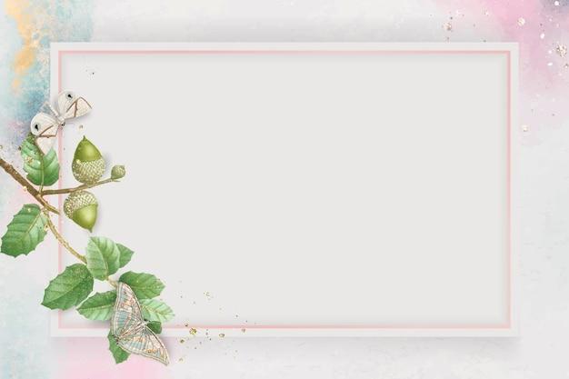 Padrão de folha de carvalho desenhado à mão em um vetor de quadro retângulo rosa