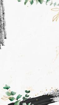 Padrão de folha de eucalipto em vetor de papel de parede de telefone celular de fundo branco