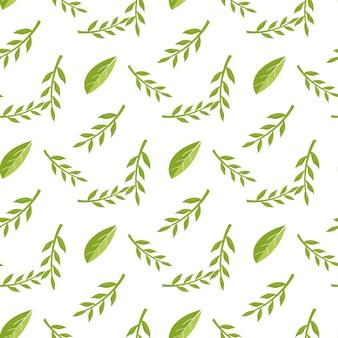 Padrão de folha decorativa estilizada sem emenda