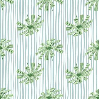 Padrão de folhagem sem emenda de elementos de licuala de palmeira verde tropical.