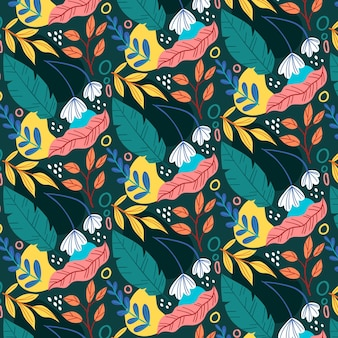Padrão de folhas abstratas coloridas desenhadas à mão