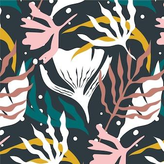 Padrão de folhas abstratas de estilo desenhado à mão