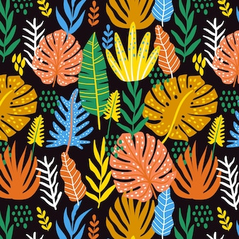 Padrão de folhas abstratas desenhadas à mão