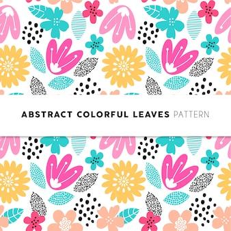 Padrão de folhas coloridas abstratas
