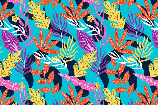 Padrão de folhas coloridas abstrato desenhado à mão