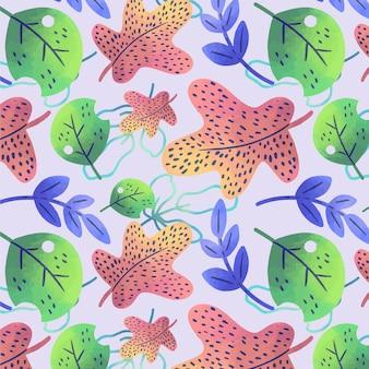 Padrão de folhas coloridas desenhadas à mão