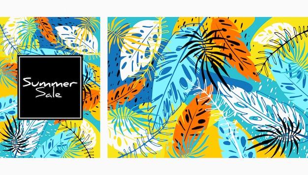 Padrão de folhas de cor tropical