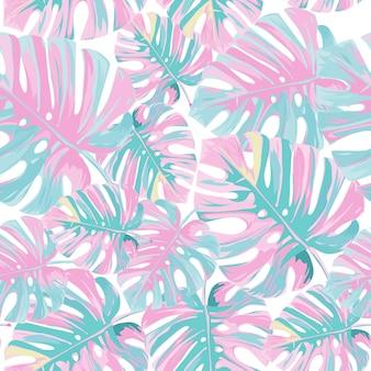 Padrão de folhas de palmeira rosa tropical.