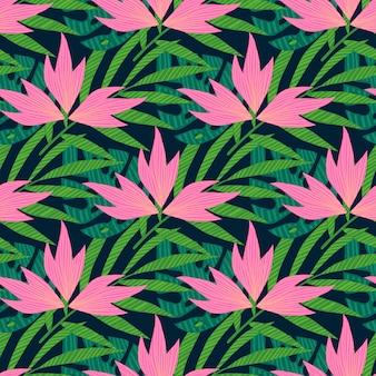 Padrão de folhas de palmeira tropical.