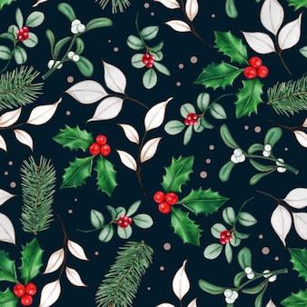 Padrão de folhas e bagas de natal desenhada à mão em aquarela
