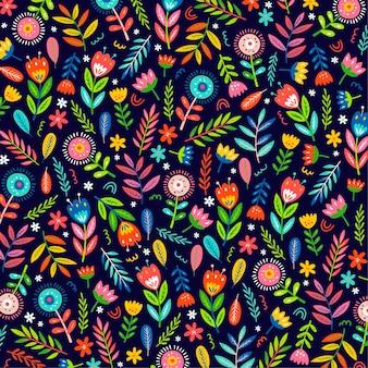 Padrão de folhas e flores exóticas pintadas à mão coloridas