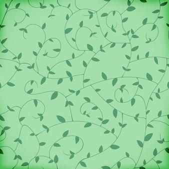 Padrão de folhas e ramos entrelaçados sem costura