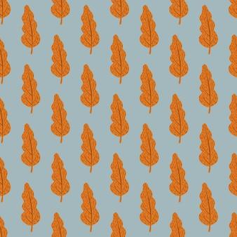 Padrão de folhas sem costura outono com silhuetas laranja de outono. Vetor Premium