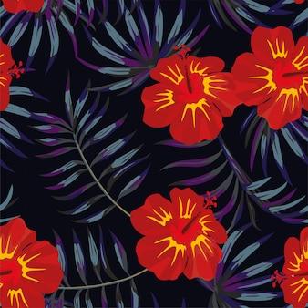 Padrão de folhas tropicais amarelo vermelho de hibisco