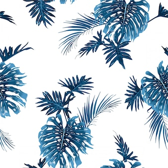 Padrão de folhas tropicais índigo azul mão desenhada sem costura com plantas de selva botânica exótica