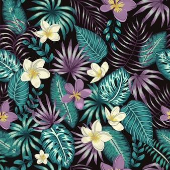 Padrão de folhas tropicais verde-esmeralda