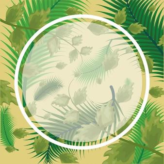 Padrão de folhas tropicais verdes com moldura redonda