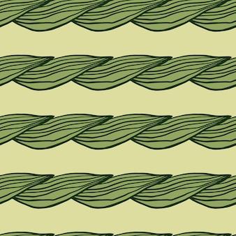Padrão de folhas verdes de linha orgânica. pano de fundo botânico abstrato. papel de parede de natureza criativa. design para tecido, impressão têxtil, embalagem, capa. ilustração vetorial.