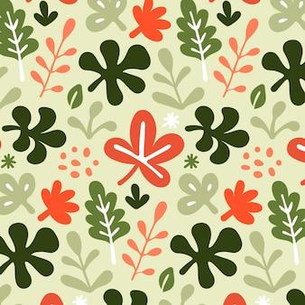 Padrão de folhas verdes e vermelhas desenhada à mão