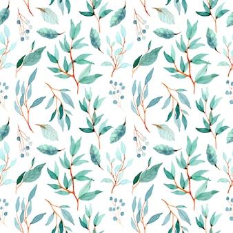 Padrão de folhas verdes em aquarela