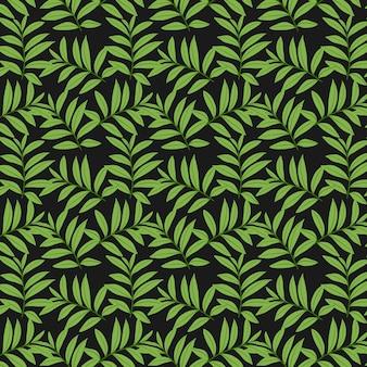 Padrão de folhas verdes no fundo preto