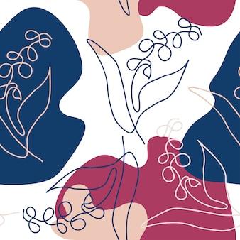 Padrão de forma abstrata desenhada de mão floral de uma linha