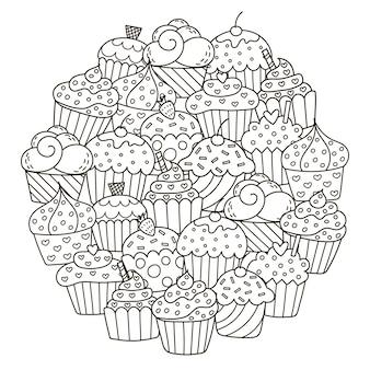 Padrão de forma de círculo com cupcakes fofos