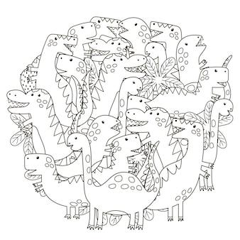 Padrão de forma de círculo com dinossauros fofos para colorir livro Vetor Premium