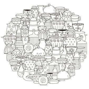 Padrão de forma de círculo com pratos para colorir livro