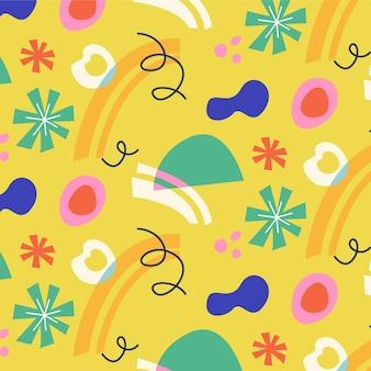Padrão de formas coloridas abstratas desenhadas à mão
