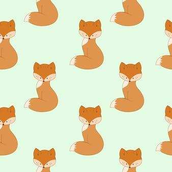 Padrão de fox bonito dos desenhos animados sobre fundo verde. fundo infinito sem costura para impressão, capa, papel de embrulho, alfaiataria. ilustração do vetor infantil.