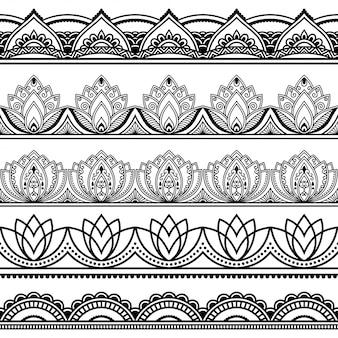 Padrão de fronteiras sem costura para desenho de henna, mehndi e tatuagem.
