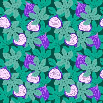 Padrão de fruta abstrata com figos e folhas. padrão sem emenda tropical com figo e folhas em fundo verde escuro. ilustração em vetor estilo desenhado na mão. ornamento para têxteis e embalagem.