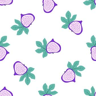 Padrão de fruta abstrata com figos e folhas. padrão sem emenda tropical com figo e folhas no fundo branco. ilustração em vetor estilo desenhado na mão. ornamento para têxteis e embalagem.