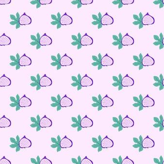 Padrão de fruta abstrata com figos e folhas. padrão sem emenda tropical com fundo de figo e folhas. ilustração em vetor estilo desenhado na mão. ornamento para têxteis e embalagem.