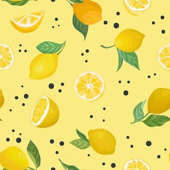 Padrão de fruta sem costura com fundo de limões, folhas, flores. ilustração vetorial desenhada à mão em estilo aquarela