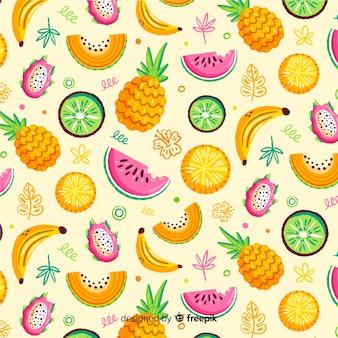 Padrão de fruta tropical desenhada de mão