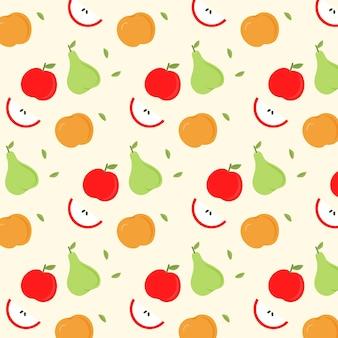 Padrão de frutas com maçãs e peras