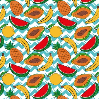 Padrão de frutas com mamão e melancia