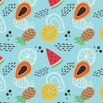 Padrão de frutas com melancia e abacaxi