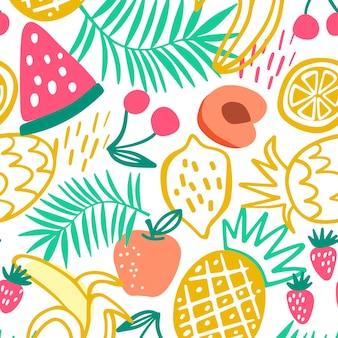 Padrão de frutas desenhadas coloridas