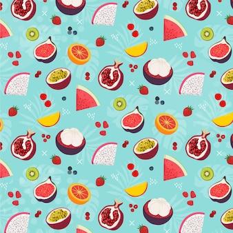 Padrão de frutas diferentes coloridas