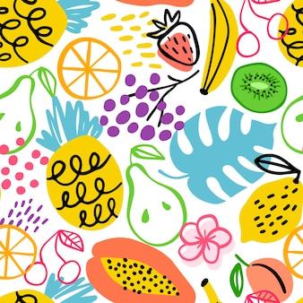 Padrão de frutas diferentes desenhadas