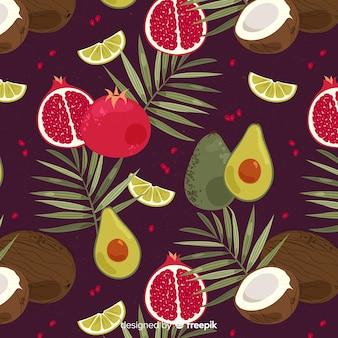 Padrão de frutas e palmeiras tropicais planas